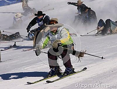 Cowboy Stampede - mass start of skiing cowboys Editorial Photo