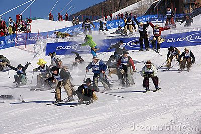 Cowboy Stampede - mass start of skiing cowboys Editorial Stock Image