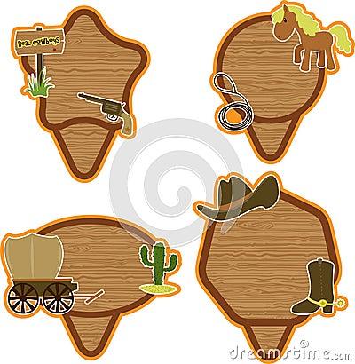 Cowboy stickers set