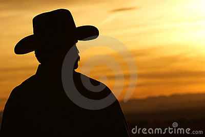 Cowboy Sunset Silhouette