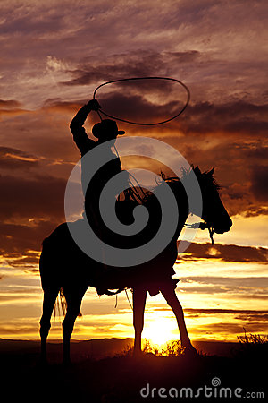 Cowboy swinging rope on horse side angle