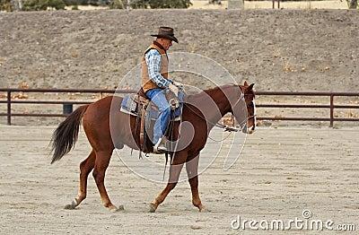 A cowboy warming up his horse.