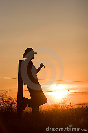 Free Cowboy Watching Sunset Stock Image - 2588141