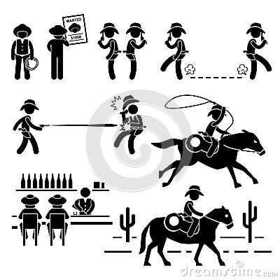 Cowboy Wild West Duel Bar Horse Pictogram