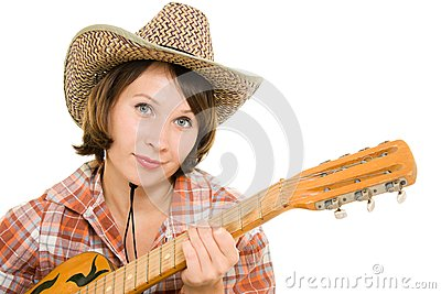 Cowboy woman with a guitar.