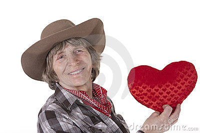 Cowboy woman with red heart