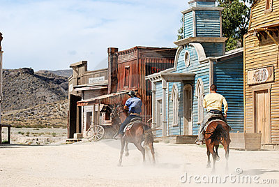 Cowboys in an American western town