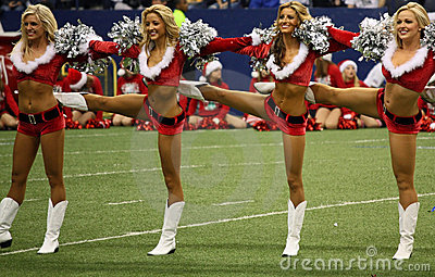 Cowboys Cheerleaders Christmas Halftime Line Editorial Photography