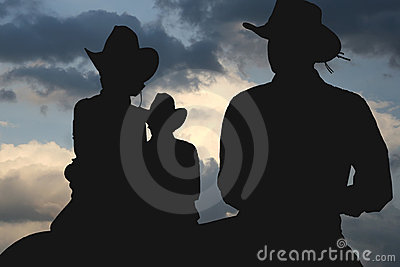 Cowboys in the morning silhouette