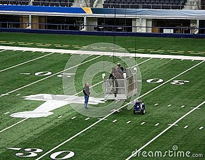 Cowboys Stadium Super Bowl Workers Editorial Image