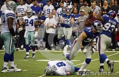 Cowboys Tony Romo Sacked Editorial Photo