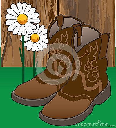 Cowgirl Boots and Flowers Vector Illustration