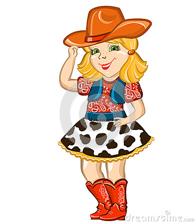 Free Cowgirl Child Isolated On White. Stock Images - 37110924