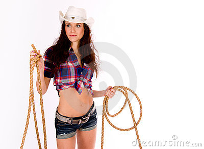 Sexy CowGirl Holds Lasso Shorts White Cowboy Hat