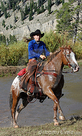 Cowgirl & Horse Emerging from Pond