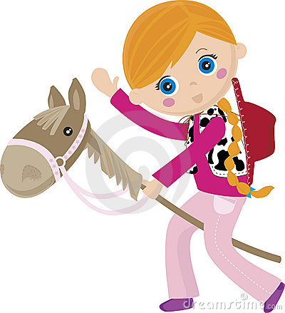Cowgirl riding a stick, puppet horse