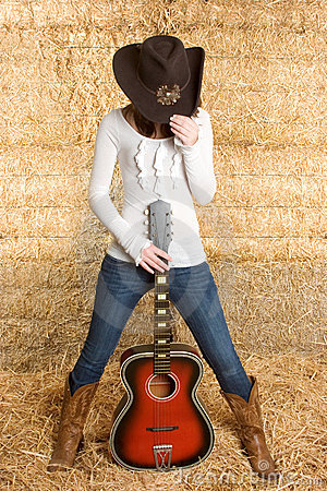 Free Cowgirl With Guitar Stock Photography - 4715452