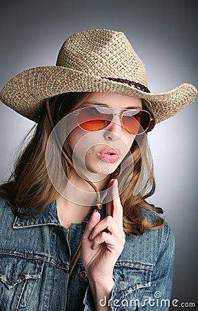 Free Cowgirl With Imaginative Gun Stock Photo - 9691140