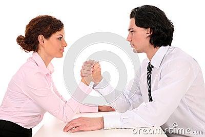 Coworkers Arm Wrestling
