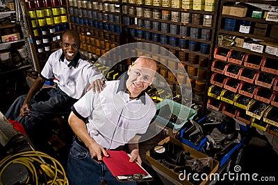 Coworkers in printshop