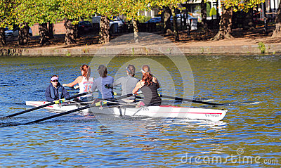 Coxed fours rowing at Bedford. Editorial Stock Photo