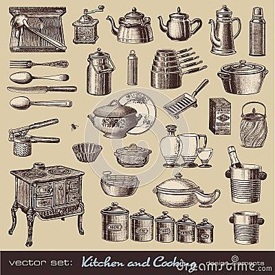 Cozinha e cozimento de elementos do projeto