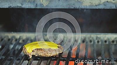 Cozinhando bolos de queijo suculentos frescos do cheeseburger para o alimento da rua filme