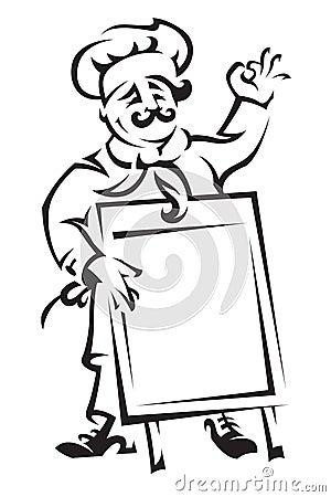 Cozinheiro chefe com placa do menu