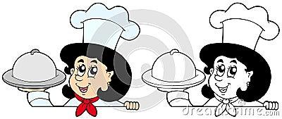 Cozinheiro chefe de espreitamento da mulher com refeição