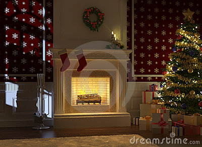 Cozy fireplace decorated for xmas