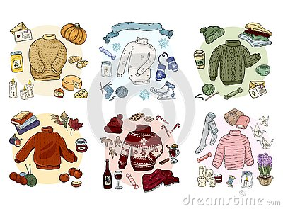 Cozy hygge doodles collection set. Cute stickers Vector Illustration