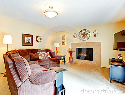 Cozy Living Room With Fireplace Stock Photo Image 47580117