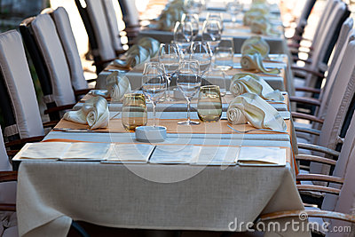 Cozy Restaurant tables ready for service