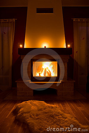 Cozy warm fireplace
