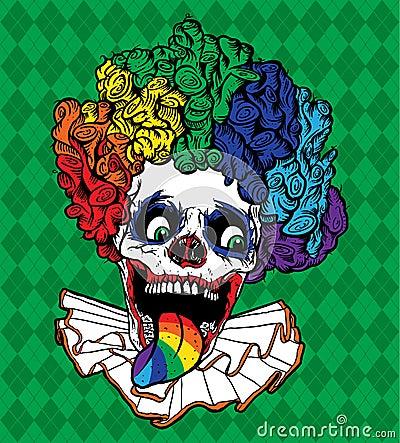Crâne de clown d arc-en-ciel de vecteur