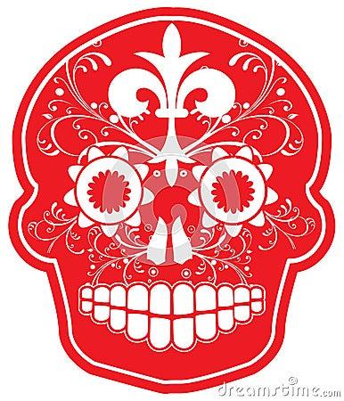 Crâne rouge de sucre de vecteur