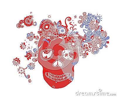 Crânio com flores