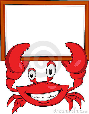 Crab cartoon with blank sign