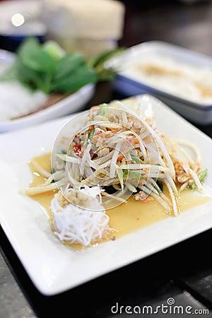 Crab green papaya salad