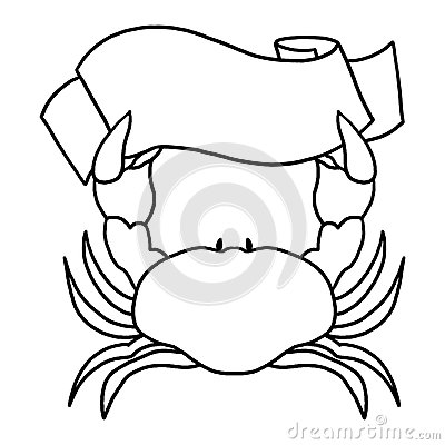 Crab Holding a Sign Outline Illustration