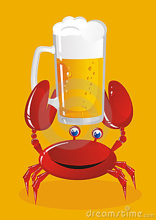 crab holds beer
