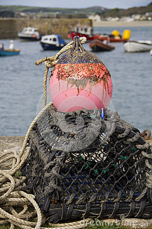 Crab and lobster pots on the quayside