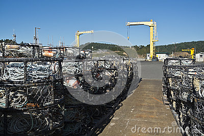 Crab pots at the dolly dock in Port Orford
