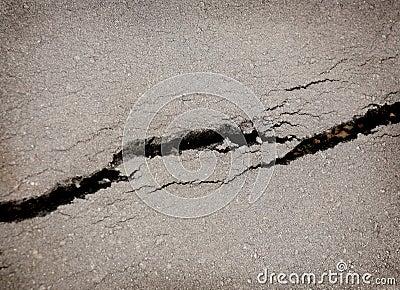 Crack on asphalt
