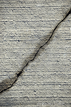 Crack on grey  cement surface