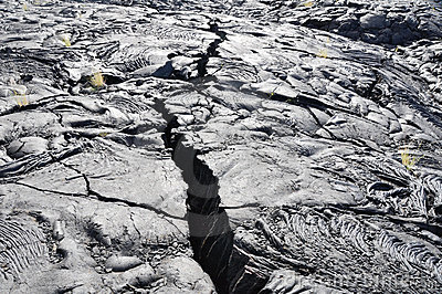 Crack in the Lava field, Big Island, Hawaii
