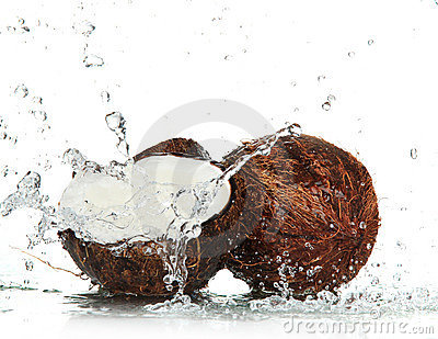Cracked coconuts with Splashing water