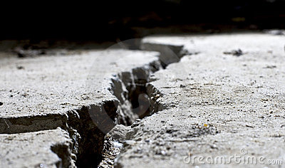 Cracked concrete close up