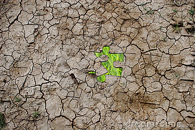 Cracked dry earth as a puzzle