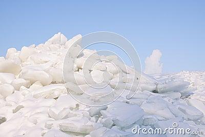 Cracked ice on lake